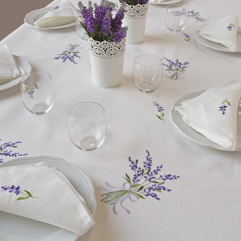 Cucina Con Lavatrice : Tovaglia fiori di lavanda ricami e pizzi