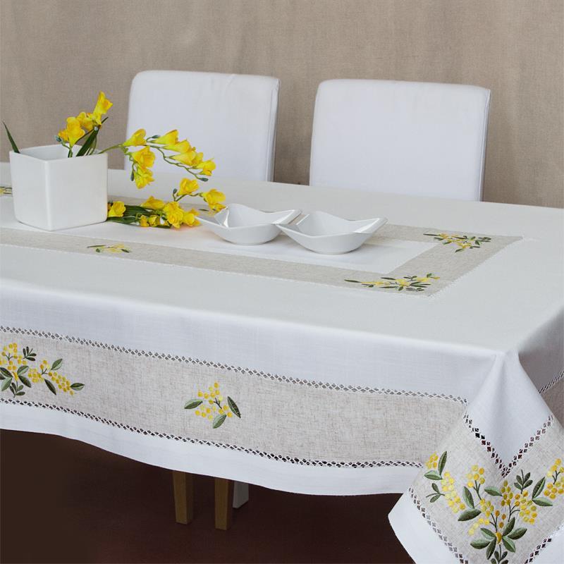 Tovaglia mimosa ricami e pizzi - Tovaglia per tavolo ovale ...